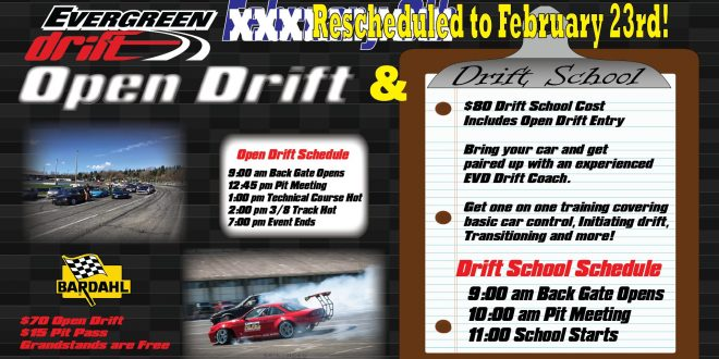 Drift School/Open Drift February 23rd Powered by Bardahl
