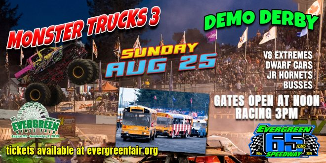 Aug 25th Sunday Monster Trucks and Demo