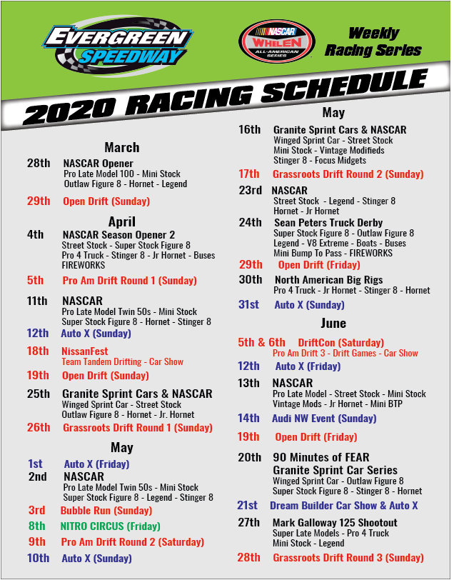 It's just a graphic of Exhilarating Printable Nascar Schedule 2020